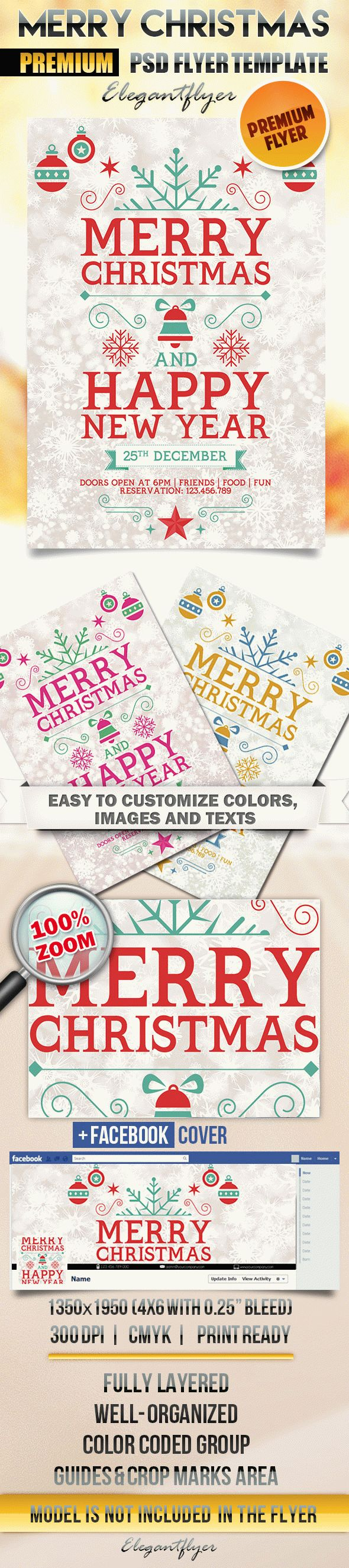Merry Merry Christmas – Flyer PSD Template + Facebook Cover