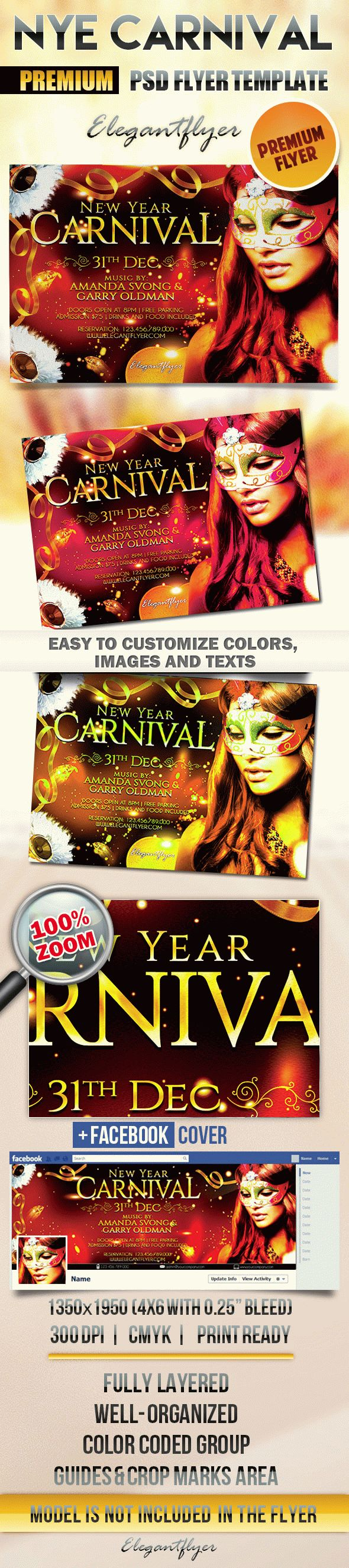 New Year Carnival Party – Flyer PSD Template + Facebook Cover