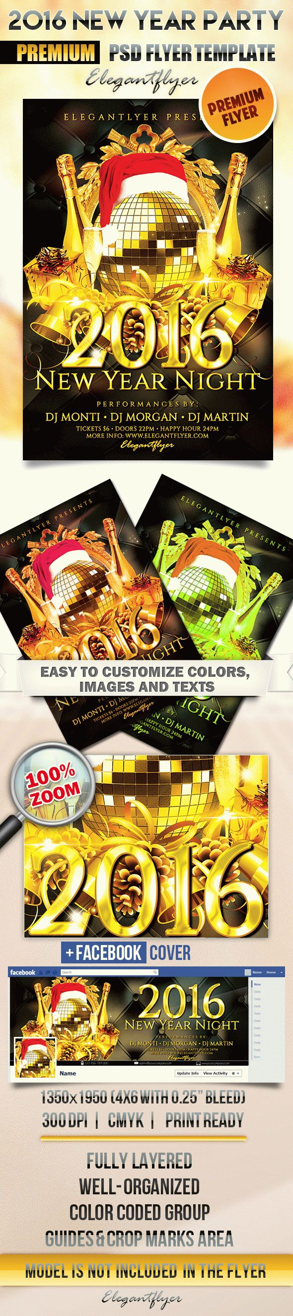 2016 New Year Party – Flyer PSD Template + Facebook Cover