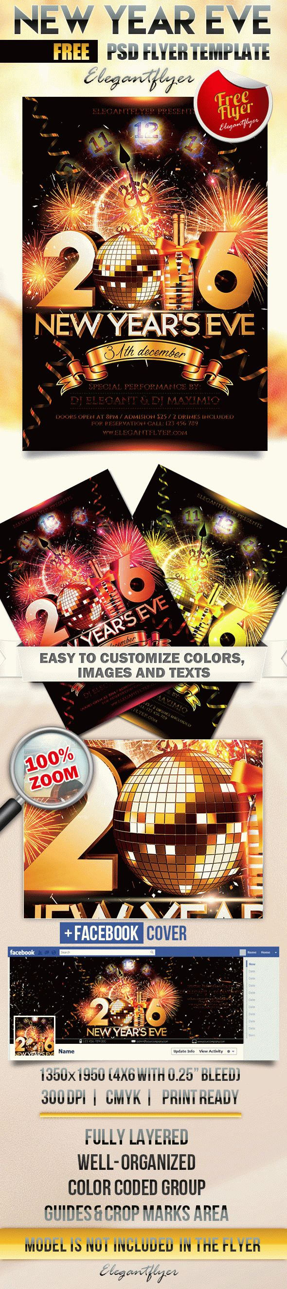 new year eve free flyer psd template