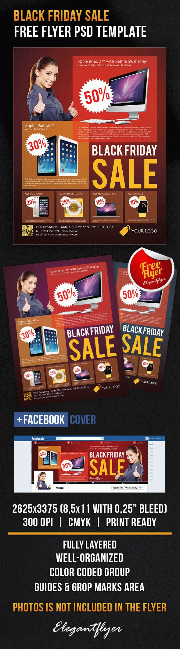 Black Friday Sale – Free Flyer PSD Template + Facebook Cover