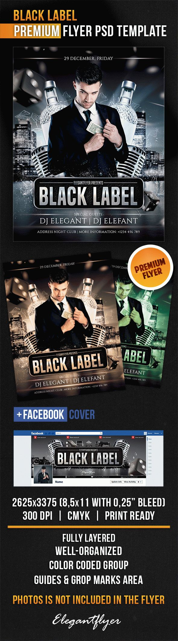 Black Label – Flyer PSD Template + Facebook Cover