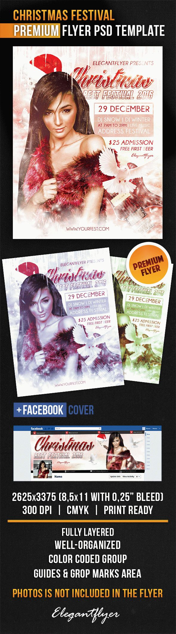 Christmas Festival – Flyer PSD Template + Facebook Cover