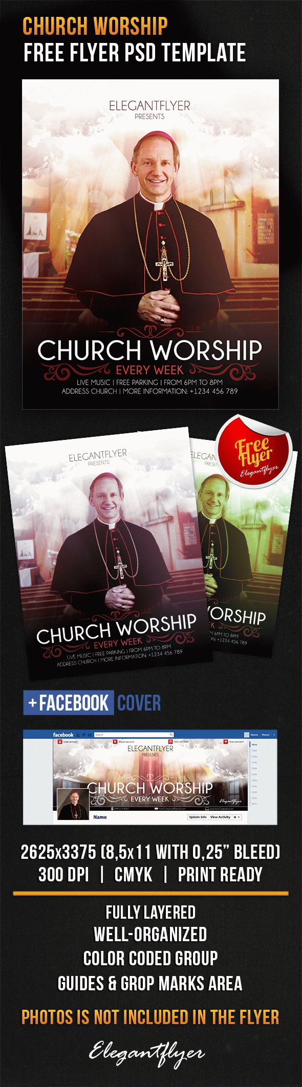 church worship  u2013 free flyer psd template  u2013 by elegantflyer