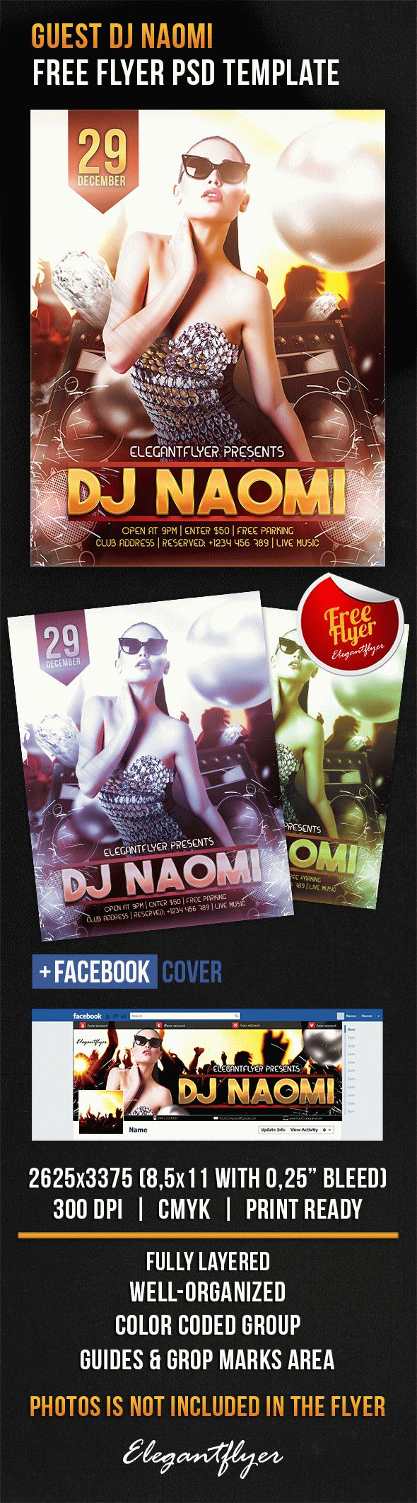 Guest DJ Naomi – Free Flyer PSD Template + Facebook Cover
