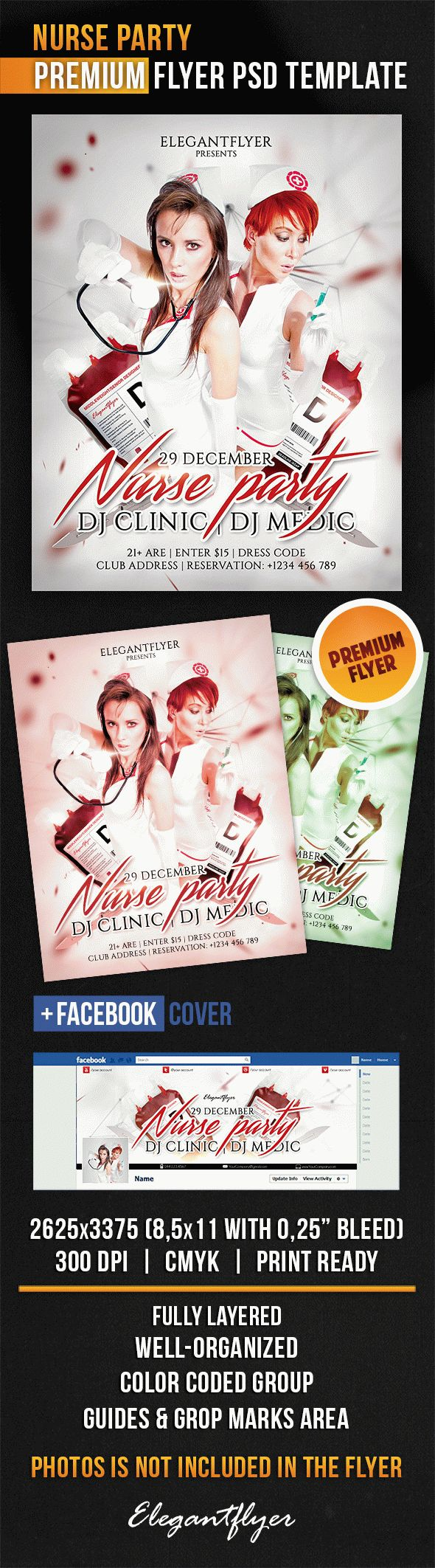 Nurse Party – Flyer PSD Template + Facebook Cover
