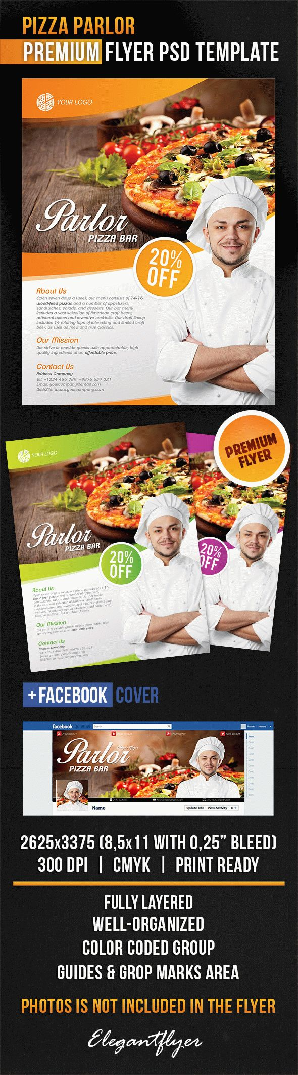 Pizza Parlor – Flyer PSD Template + Facebook Cover