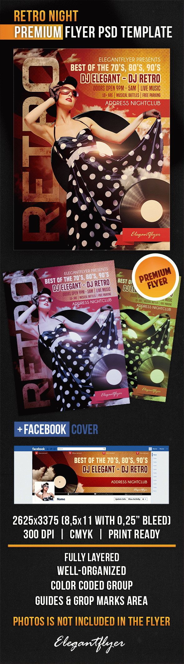 Retro Night – Flyer PSD Template + Facebook Cover