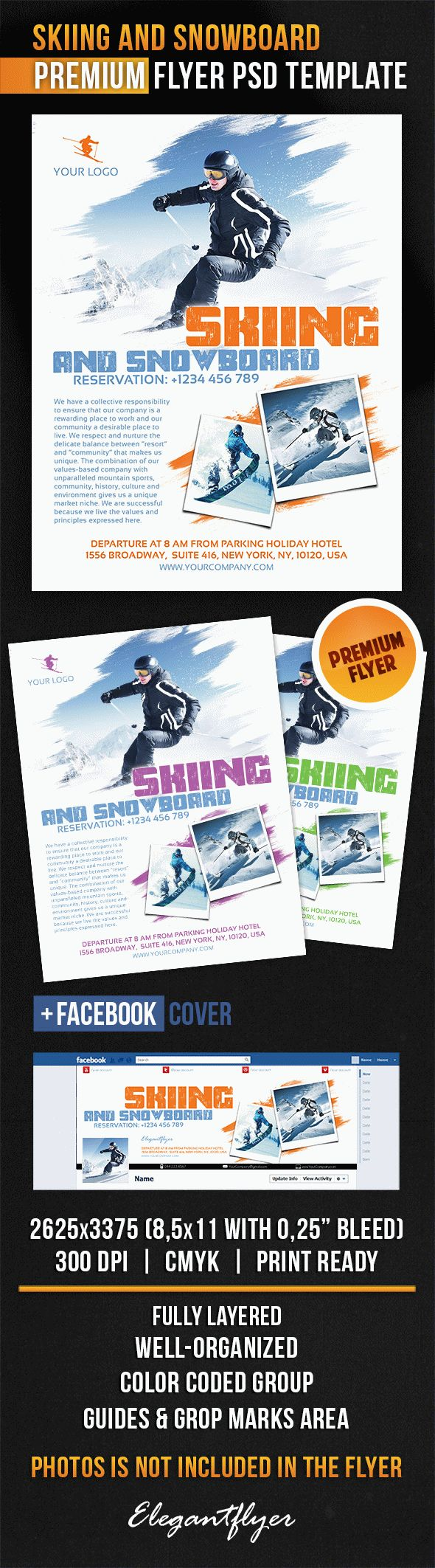 Skiing And Snowboard – Flyer PSD Template
