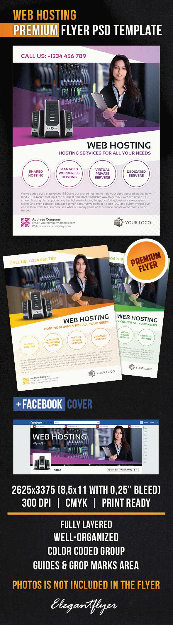 Web Hosting – Flyer PSD Template + Facebook Cover