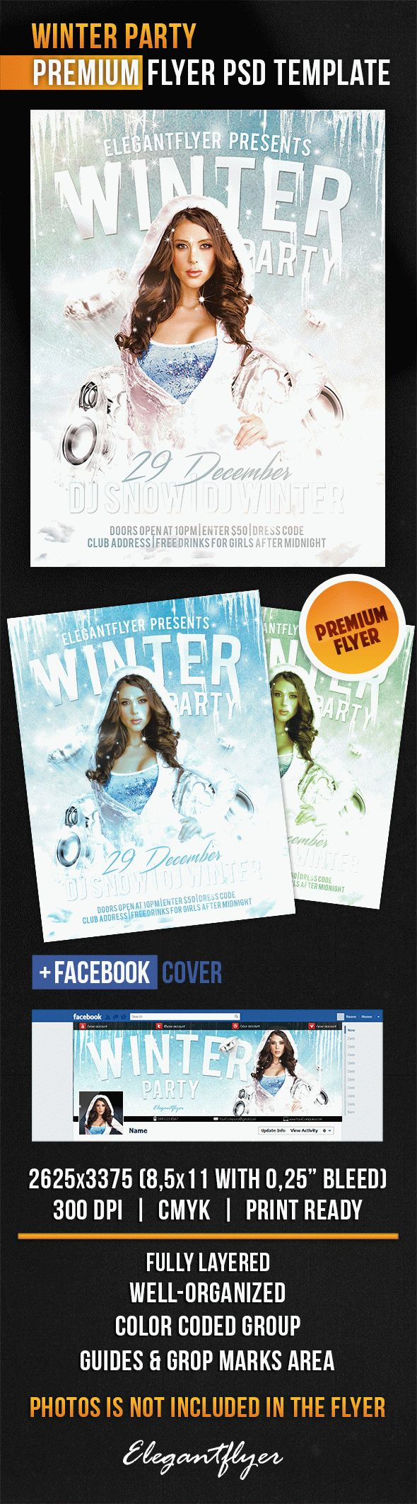 Winter Party Invitation Flyer Template