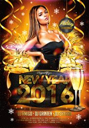 New Year – Flyer PSD Template + Facebook Cover
