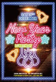 Free Neon New Years Flyer
