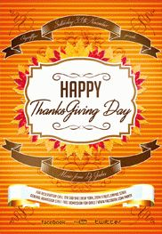 Thanksgiving Day 5 – Flyer PSD Template + Facebook Cover