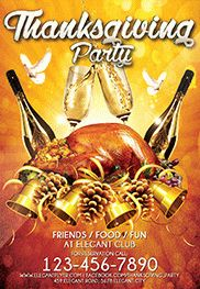 Thanksgiving Party Night – Flyer PSD Template + Facebook Cover