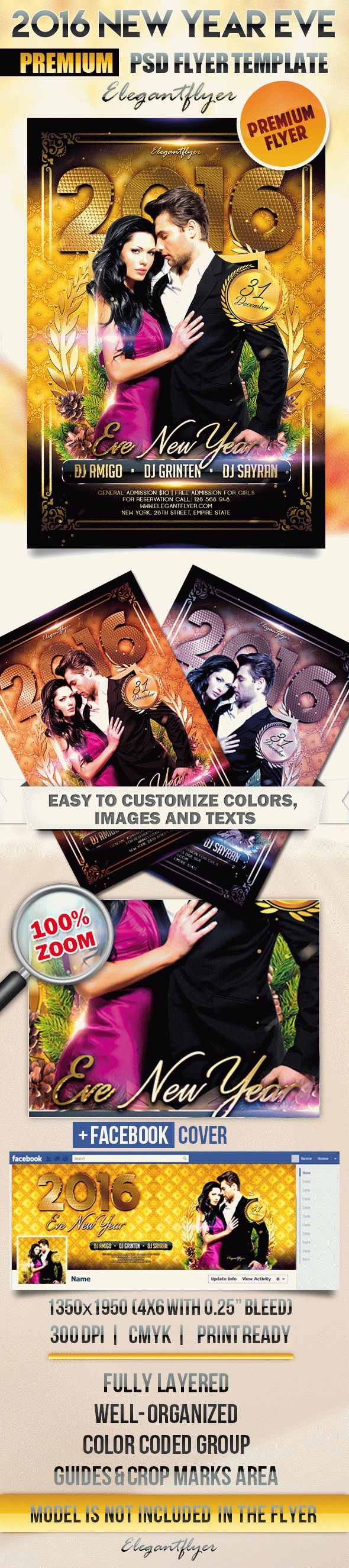 2016 New Year Eve – Flyer PSD Template + Facebook Cover