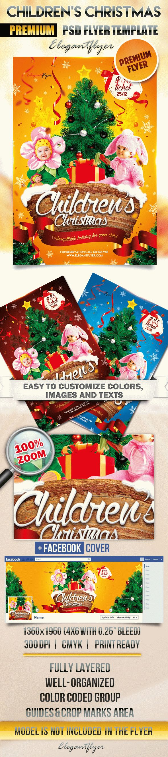 Children's Christmas – Flyer PSD Template + Facebook Cover