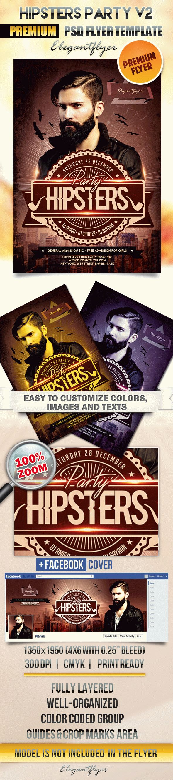 Hipsters Party V2 – Flyer PSD Template