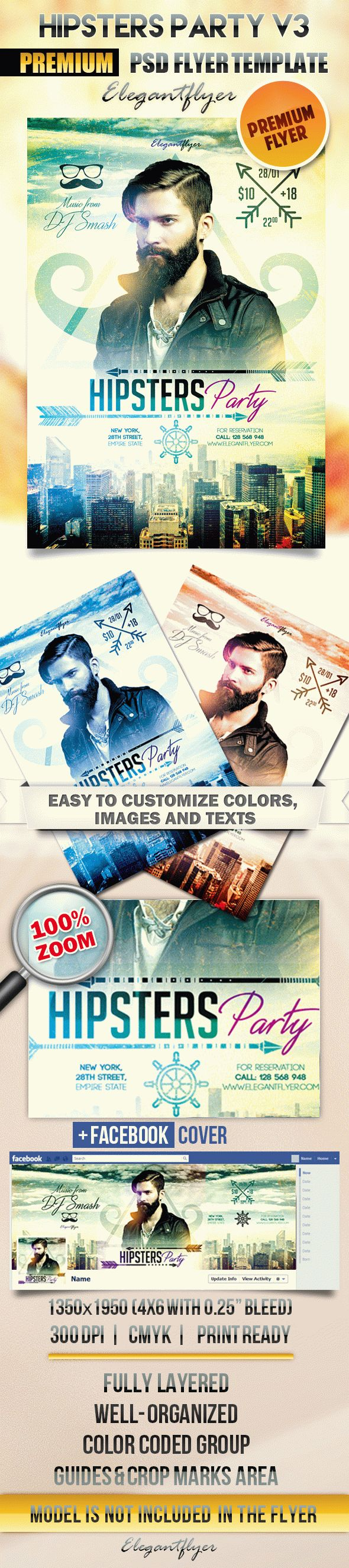 Hipsters Party V3 – Flyer PSD Template