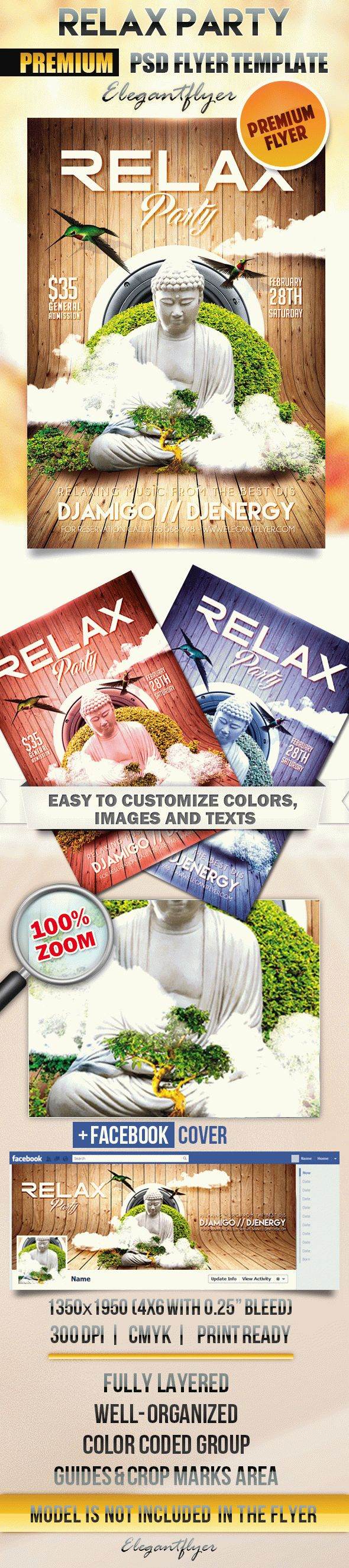 Relax Party – Flyer PSD Template + Facebook Cover