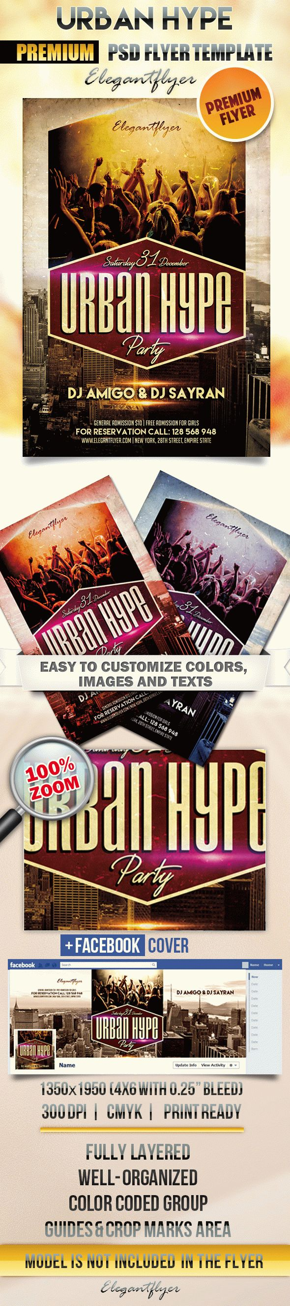Urban Hype – Flyer PSD Template + Facebook Cover