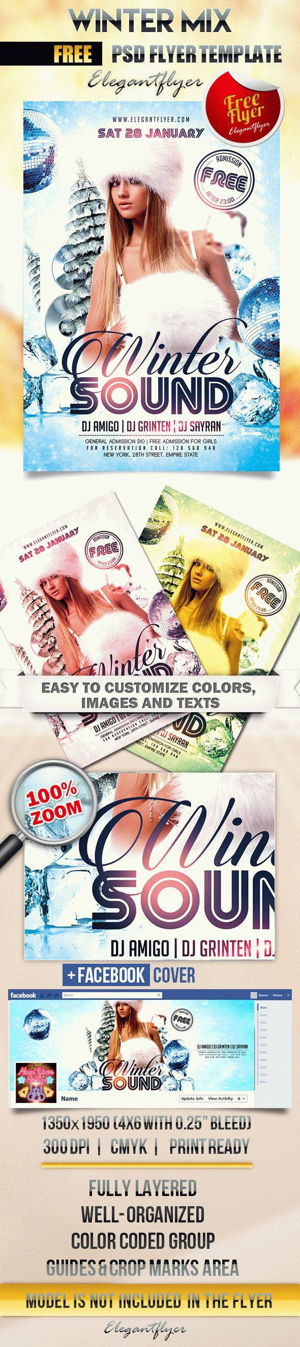 Winter Mix – Flyer PSD Template + Facebook Cover