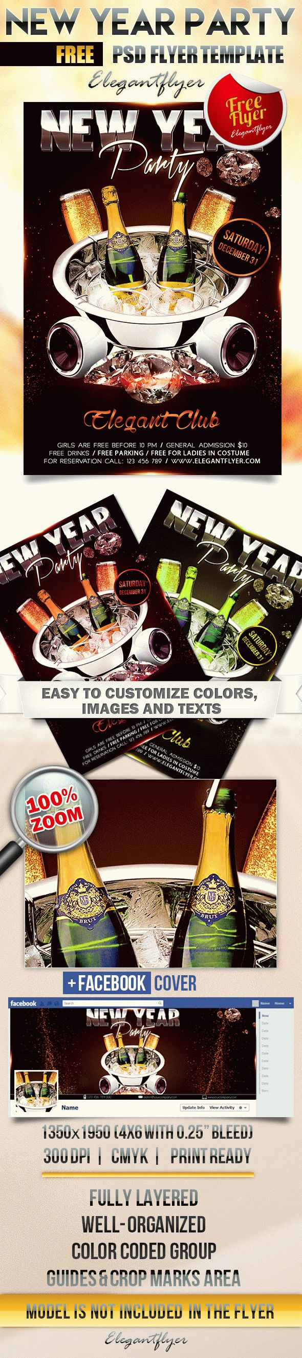 New Year Party – Free Flyer PSD Template + Facebook Cover