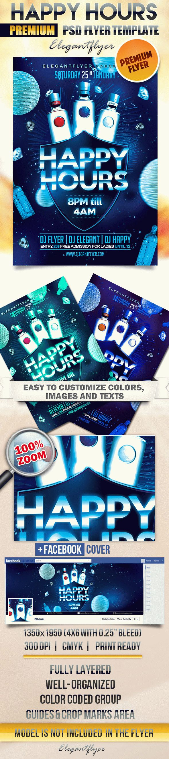 Happy Hour – Flyer PSD Template + Facebook Cover