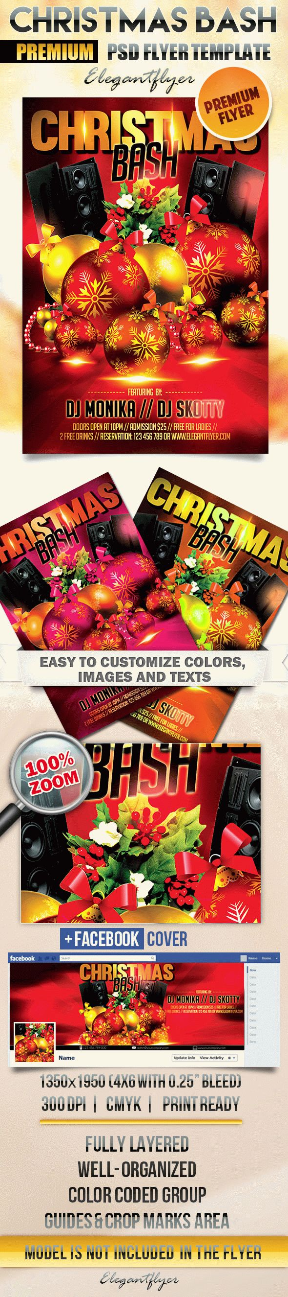 Christmas Bash – Flyer PSD Template + Facebook Cover