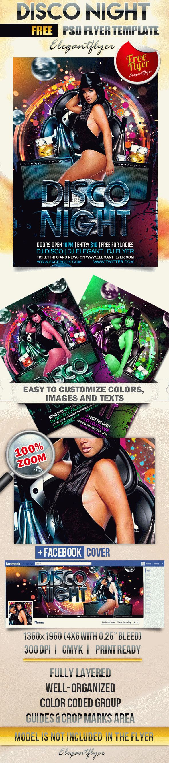 Disco Night – Free Flyer PSD Template