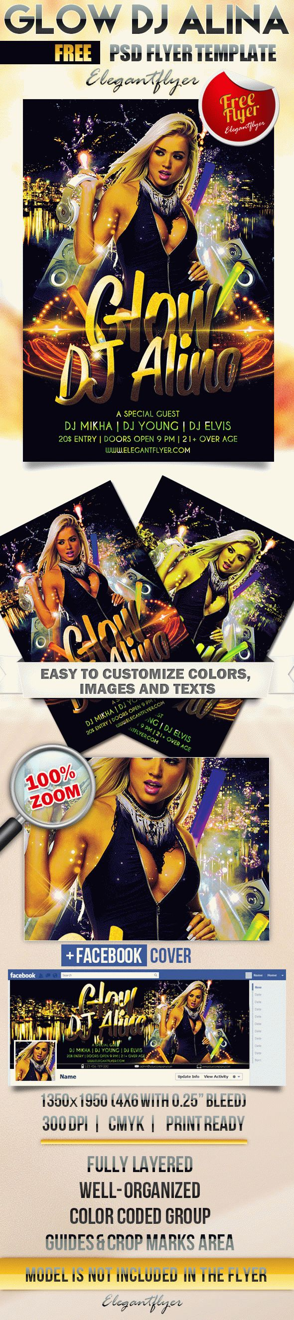 Glow Dj Alina – Free Flyer PSD Template + Facebook Cover