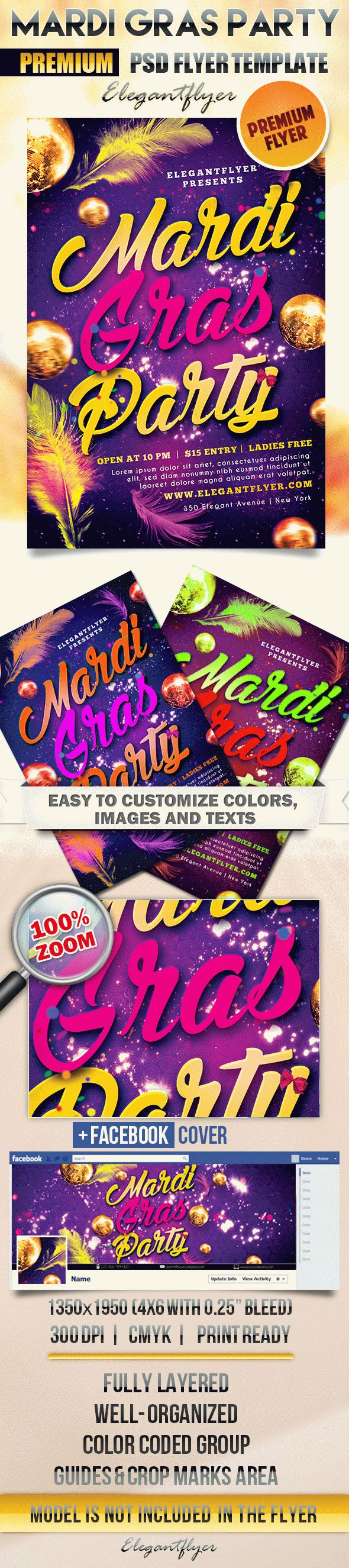 Mardi Gras Themed Party PSD Template