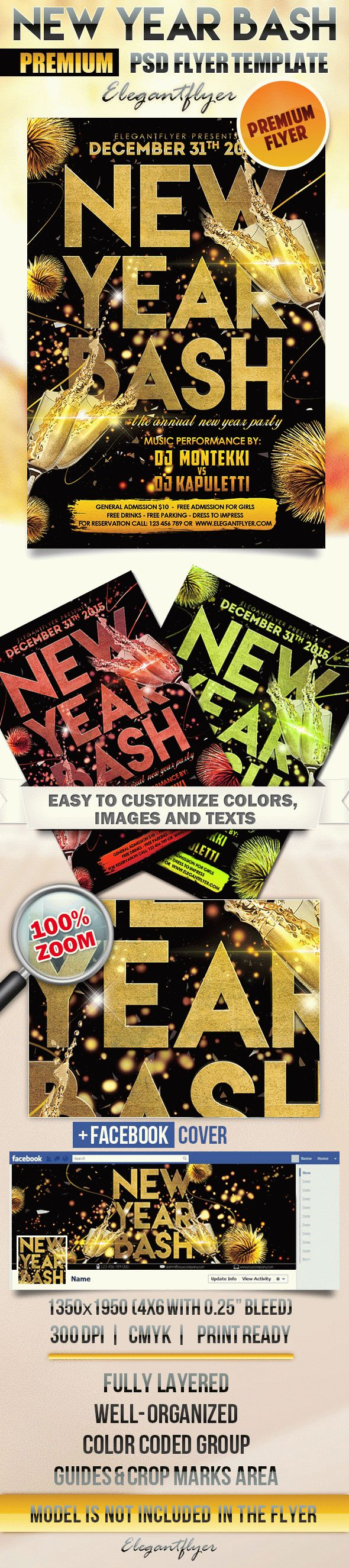New Year Bash – Flyer PSD Template + Facebook Cover