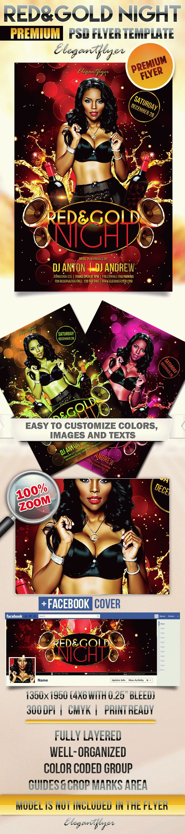 Red & Gold Night – Flyer PSD Template + Facebook Cover