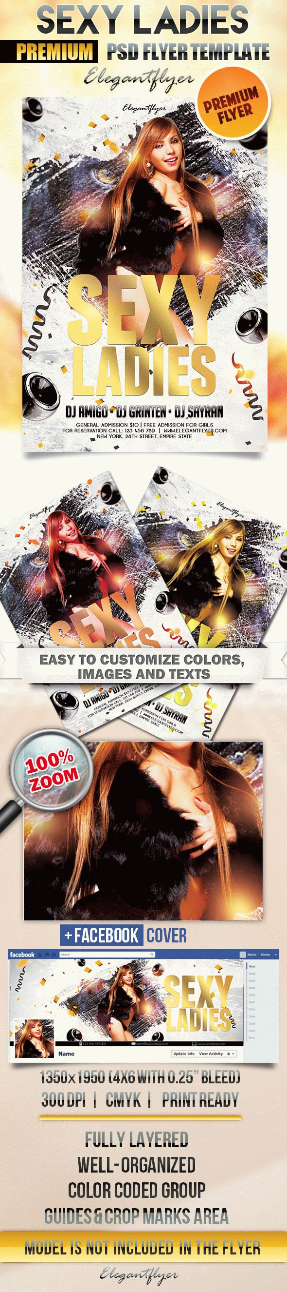 Sexy Ladies – Flyer PSD Template + Facebook Cover