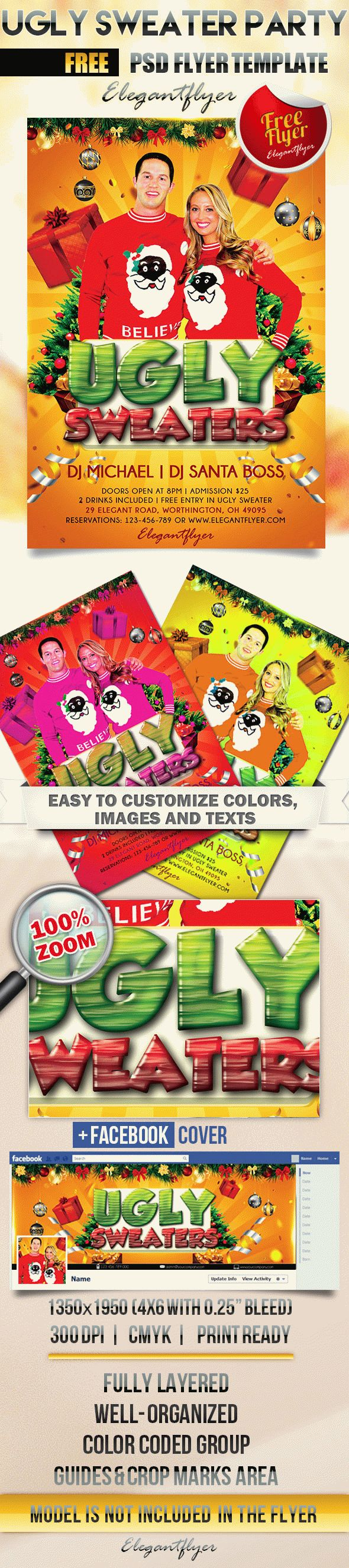 Ugly Sweater Party – Free Flyer PSD Template