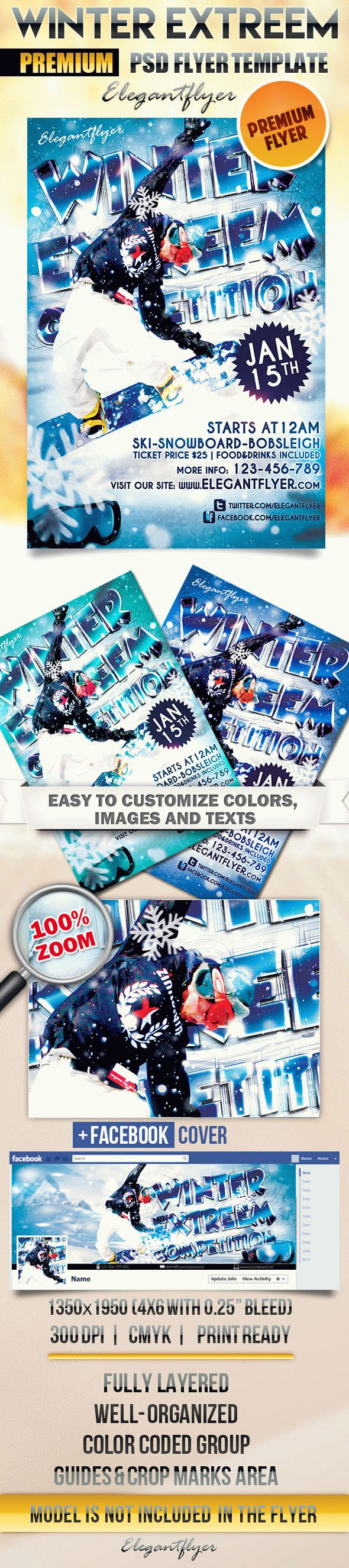 Winter Extreem Competition – Flyer PSD Template + Facebook Cover