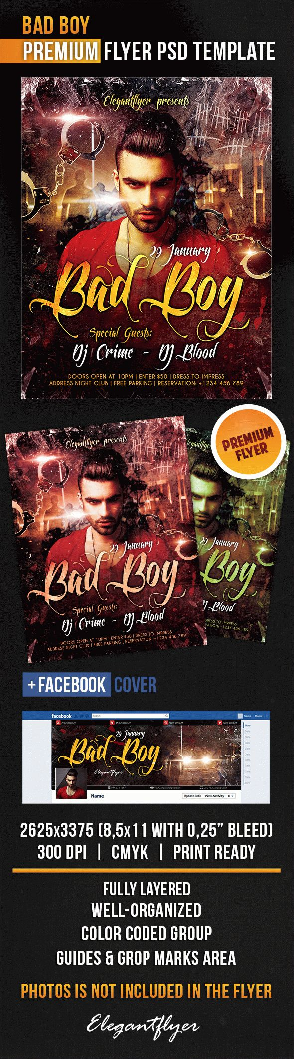 Bad Boy – Flyer PSD Template + Facebook Cover