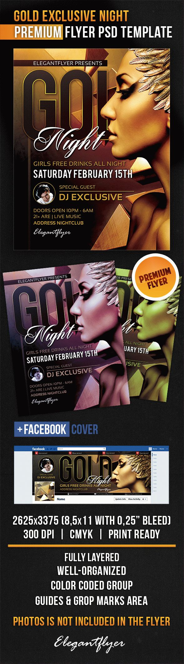 Gold Exclusive Night – Flyer PSD Template + Facebook Cover