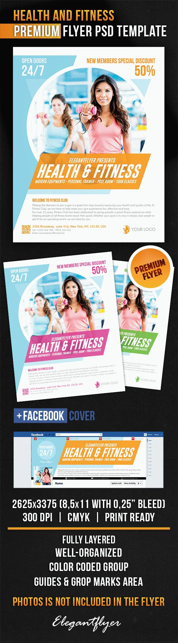 Health And Fitness – Flyer PSD Template + Facebook Cover