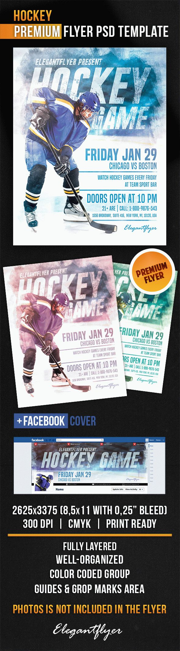 Hockey – Flyer PSD Template + Facebook Cover