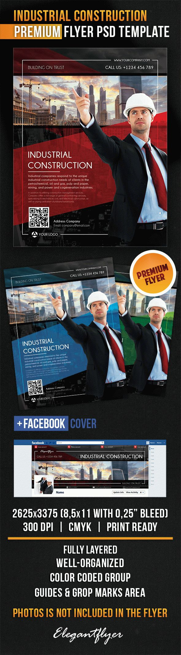 Industrial Construction – Flyer PSD Template + Facebook Cover