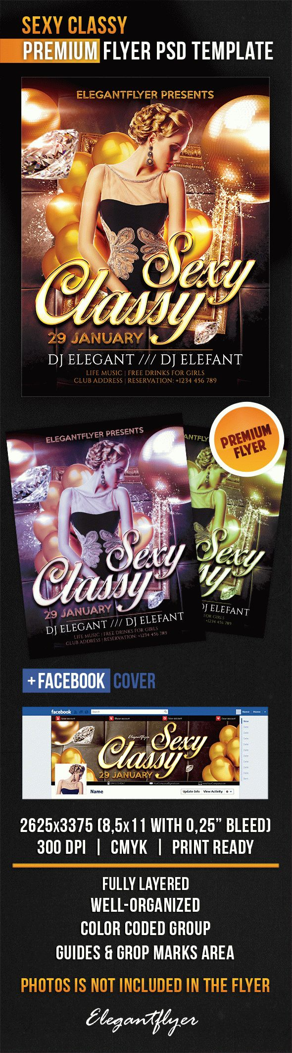 Sexy Classy – Flyer PSD Template + Facebook Cover