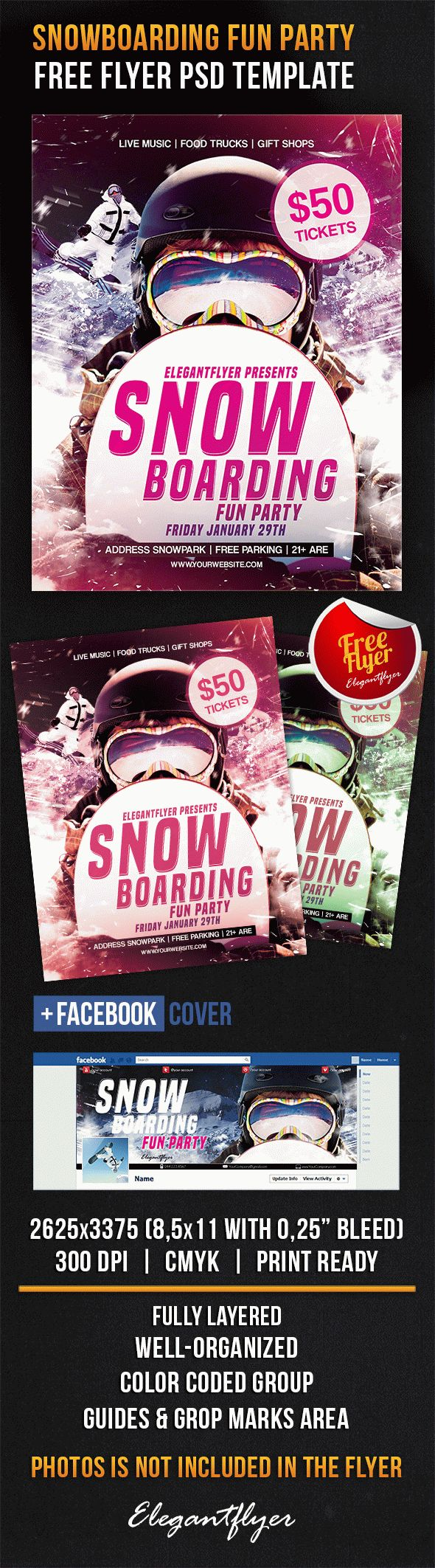 Snowboarding Fun Party – Free Flyer PSD Template + Facebook Cover