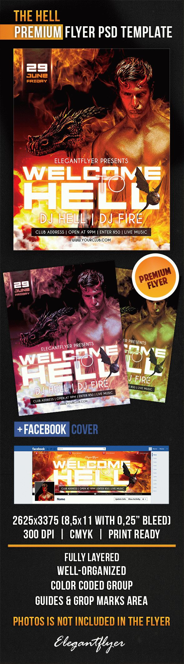 The Hell – Flyer PSD Template + Facebook Cover