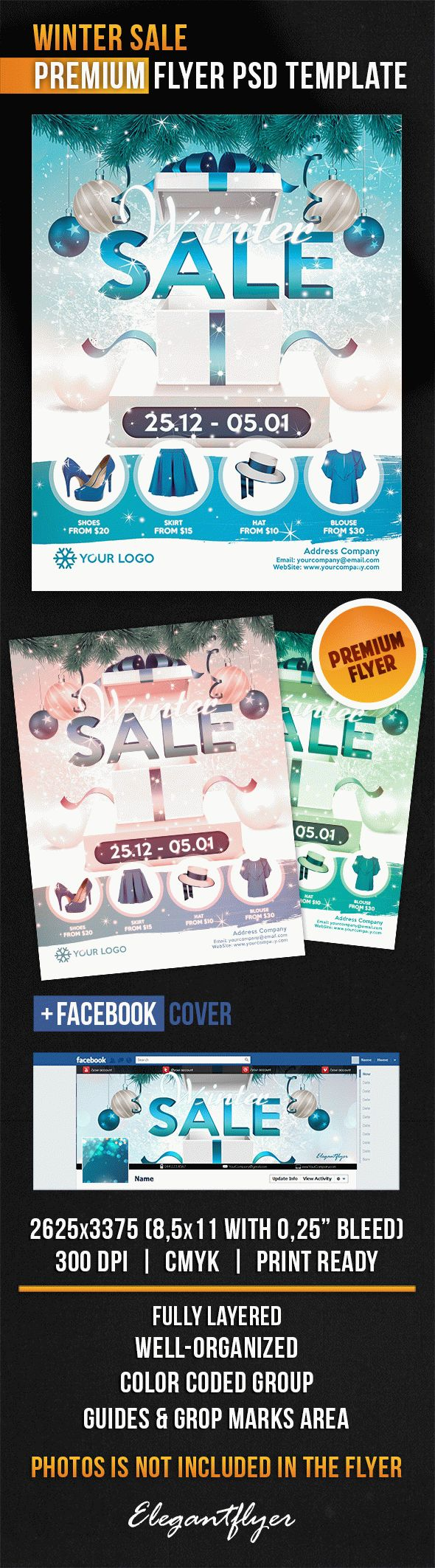 Winter Sale – Flyer PSD Template + Facebook Cover