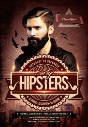 Hipsters Party V3 – Flyer PSD Template + Facebook Cover