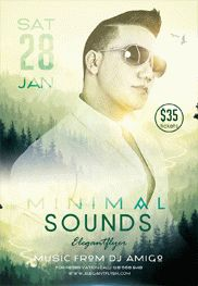 Minimal Sounds – Flyer PSD Template + Facebook Cover
