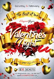 Valentines Party Night – Flyer PSD Template + Facebook Cover