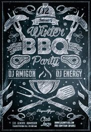Winter BBQ Party – Flyer PSD Template